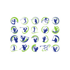 Golf player hits ball inspiration Logo design vector Golf club