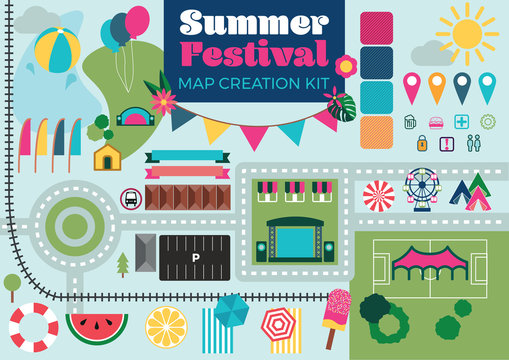 Map Creation Kit for Summer Festival in Flat Vector with Community Event Vibe