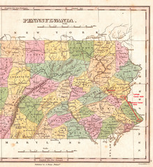 1827, Finley Map of Eastern Pennsylvania, en-antd Lehigh-Susquehanna, Susquehanna-Tioga, Turnpike, Anthony Finley mapmaker of the United States in the 19th century