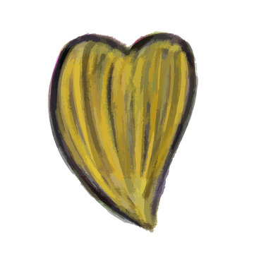 Yellow Heart Painted watercolor vector illustration, hand drawn heart isolated, Sketch for for valentine's day or wedding card