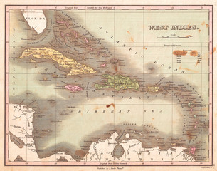 Wall Mural - 1827, Finley Map of the West Indies, Caribbean, and Antilles, Anthony Finley mapmaker of the United States in the 19th century