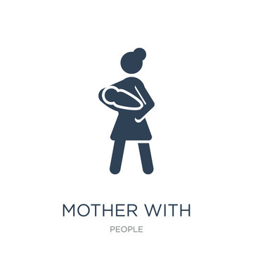 mother with baby in arms icon vector on white background, mother