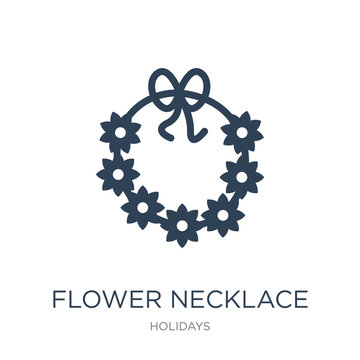 flower necklace icon vector on white background, flower necklace