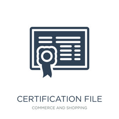 certification file icon vector on white background, certificatio