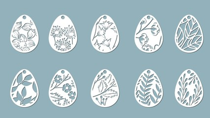 bell, leaves, flowers, fern, chamomile carved in egg. Set of paper Easter egg stickers. Vector illustration. Sticker set. Pattern for the laser cut, serigraphy, plotter and screen printing.