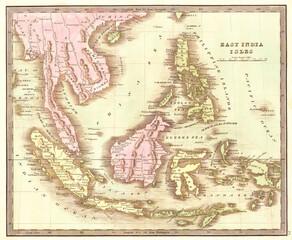 1842, Greenleaf Map of the East Indies, Borneo, Java, Sumatra, Thailand, Vietnam