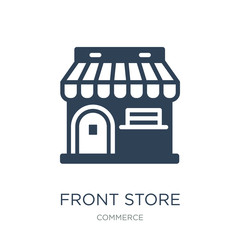 Obraz front store with awning icon vector on white background, front s - fototapety do salonu