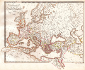 Fototapete - 1850, Map of the Roman Empire as Divided into East and West, Ancient Rome