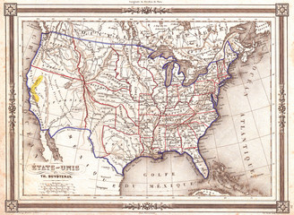 Wall Mural - 1852, Duvotenay Map of the United States, Gold Rush