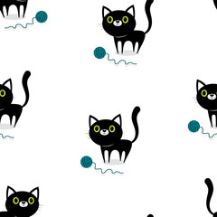 pattern with cat and ball