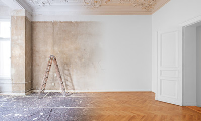 Obraz room  before and after renovation or  refurbishment - fototapety do salonu