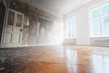 Obraz home renovation, empty room before and after refurbishment  - fototapety do salonu