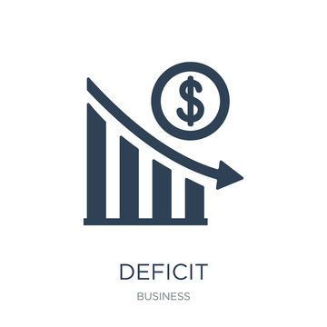 deficit icon vector on white background, deficit trendy filled i