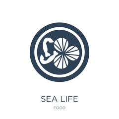 sea life icon vector on white background, sea life trendy filled