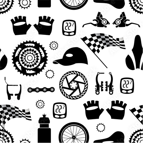 Bicycles Seamless Pattern Of Bicycle Parts Isolated Vector Image