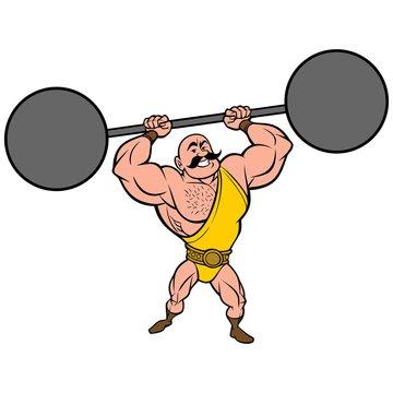 Strongman lifting Weights - A vector cartoon illustration of a strongman lifting weights.
