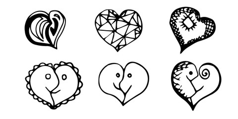 Black and white hearts and handwriting letters on white background. 14 February.  St Valentine's Day.