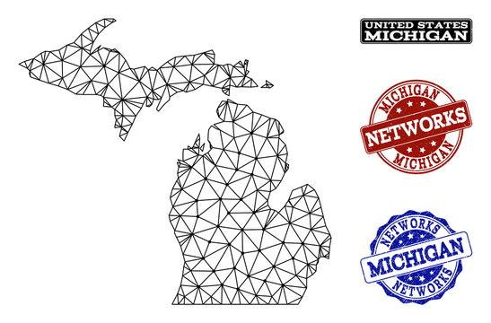 Black mesh vector map of Michigan State isolated on a white background and scratched stamp seals for networks. Abstract lines, dots and triangles forms map of Michigan State.