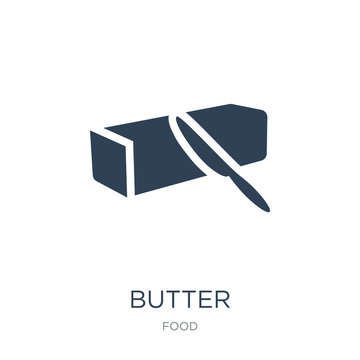 butter icon vector on white background, butter trendy filled ico