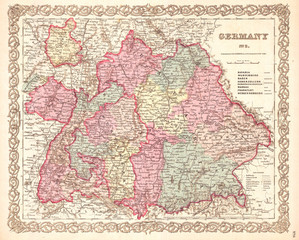 1855, Colton Map of Bavaria, Wurtemberg and Baden, Germany