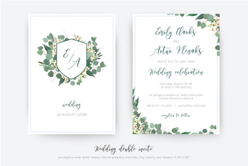 Wedding double invite, invitation, save the date card floral design. Botanical monogram: creamy wax flower, Eucalyptus  green branches,  greenery leaves wreath & dusty blue frame. Elegant tamplate set