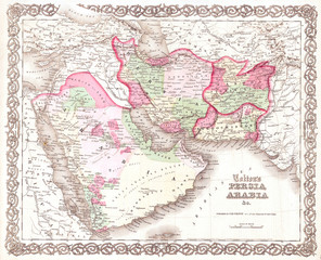 1855, Colton Map of Persia and Arabia, Saudi Arabia, Iraq, Israel and Afghanistan