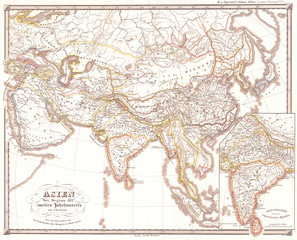 1855, Spruner Map of Asia 200 B.C.E, Han China, Seleucid Empire