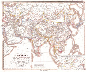 1855, Spruner Map of Asia During Chang Dynasty China, Tufan Tibet