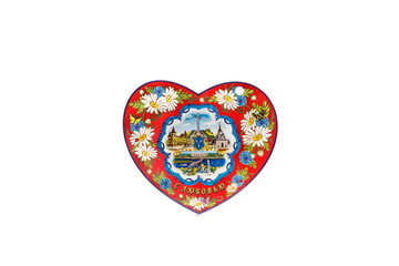 ceramic souvenir toy in the form of heart with beautiful color painting on isolated white background reflecting the national Russian culture with the inscription in Russian: With love