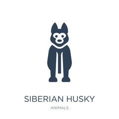 siberian husky icon vector on white background, siberian husky t