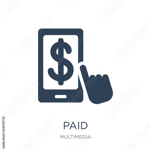 paid icon vector on white background, paid trendy filled