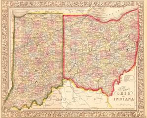 1860, Mitchell's Map of Ohio and Indiana