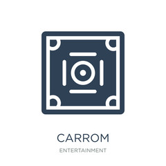 carrom icon vector on white background, carrom trendy filled ico