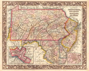 Fototapete - 1863, Mitchell Map of Pennsylvania, New Jersey, Delaware and Maryland