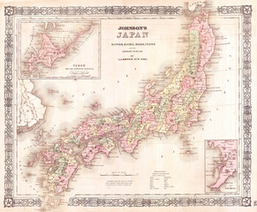 Fototapete - 1864, Johnson's Map of Japan, Nippon, Kiusiu, Sikok, Yesso and the Japanese Kuriles