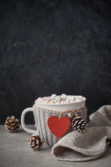 Hot chocolate with marshmallows, red heart on the cup on the table with pine cones, copy-space