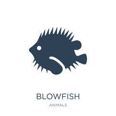 blowfish icon vector on white background, blowfish trendy filled