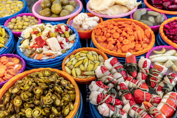 Turkish pickles in local market. Traditional Turkish pickles of various fruits and vegetables.