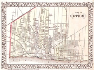 Fototapete - 1872, Mitchell Map of the City of Detroit, Michigan