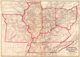Fototapete - 1873, Asher Adams Map of the Midwest, Ohio, Indiana, Illinois, Missouri, Kentucky