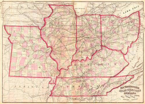 1873, Asher Adams Map of the Midwest, Ohio, Indiana, Illinois, Missouri, Kentucky