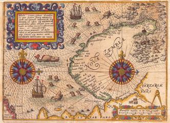 1601, De Bry and de Veer Map of Nova Zembla and the Northeast Passage