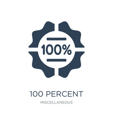 100 percent icon vector on white background, 100 percent trendy