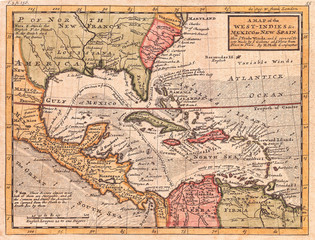 Wall Mural - 1732, Herman Moll Map of the West Indies and Caribbean