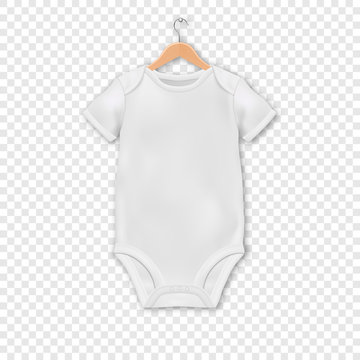 Vector Realistic White Blank Baby Bodysuit Template, Mock-up Hanging on a Hanger Closeup Isolated on Transparent Background. Body Children, Baby Shirt, Onesie. Accessories, lothes for Newborns