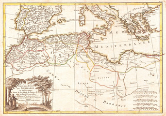 1771, Bonne Map of the Mediterranean and the Maghreb or Barbary Coast, Rigobert Bonne 1727 – 1794, one of the most important cartographers of the late 18th century