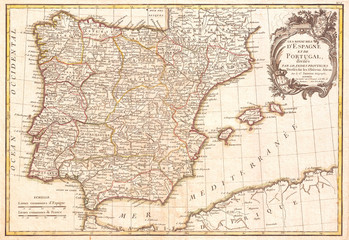 1775, Janvier Map of Spain and Portugal