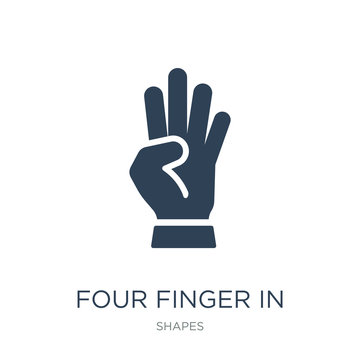 four finger in hand icon vector on white background, four finger in hand trendy filled icons from Shapes collection, four finger in hand vector illustration