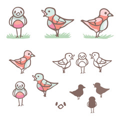 Cute flock of songbirds in silhouette, lineart and front, side view. Hand drawn flat color illustrationmotif set of kawaii wing birdies with green grass. Isolated nature bird animal clipart.