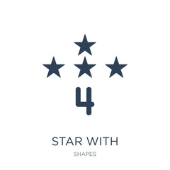 star with number four icon vector on white background, star with number four trendy filled icons from Shapes collection, star with number four vector illustration